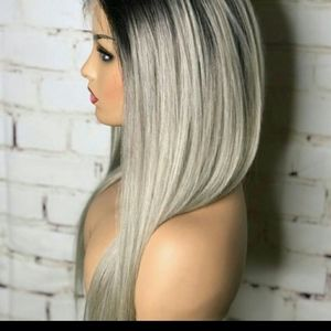 luxurious straight  black and blonde wig.